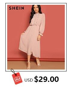 89df997a66 SHEIN Red Contrast Trim Tunic Dress Workwear Colorblock 3/4 Sleeve Sho