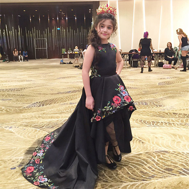 e3d23f904 Kids Beauty Pageant Dresses High Low Black Embroidery Prom Dresses Girls  Kids Evening Gowns Fantastic Children Graduation Dress