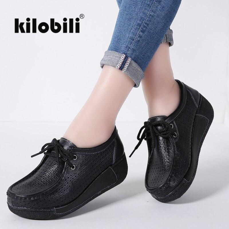kilobili 2018 Women Flat Platform Shoes Genuine Leather Cut out Lace up Heel Moccasins Ladies Female
