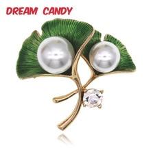 Dream Candy Elegant Pearl Ginkgo Leaves Brooches for Women Green Enamel Pins Rhinestone Brooch Fashion Jewelry Shirt Accessories elegant rhinestone and faux pearl decorated brooch for women