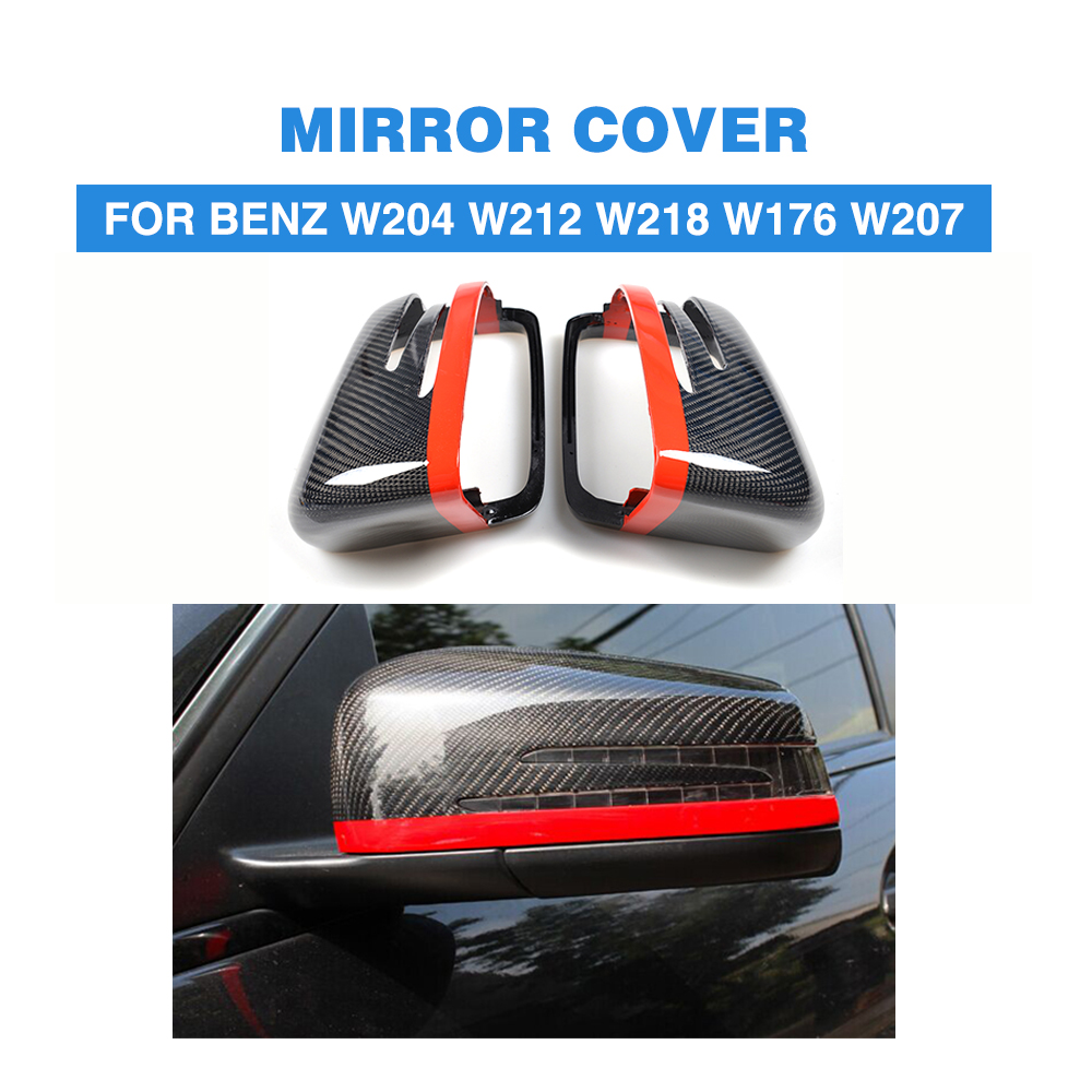Carbon Fiber Replacement Style Side Rearview Mirror Cover Caps for Mercedes Benz W204 W212 W218 W176 W207 With Red/Blue Line 2007 bmw x5 spoiler