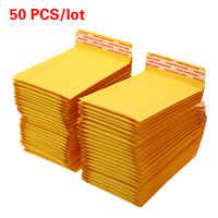 50 PCS/Lot Kraft papier enveloppes à bulles sacs Mailers rembourré enveloppe d'expédition avec bulle sac d'expédition livraison directe