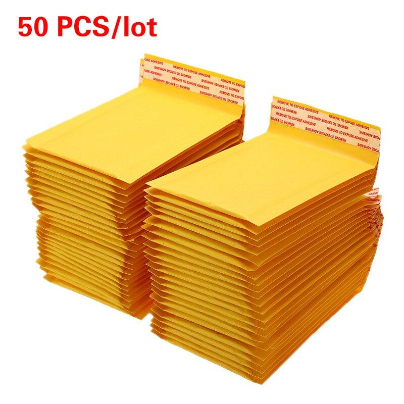 50 pzas unids/lote sobres de burbujas de papel Kraft bolsas de correo con sobres de envío acolchado con bolsa de correo de burbujas Envío Directo