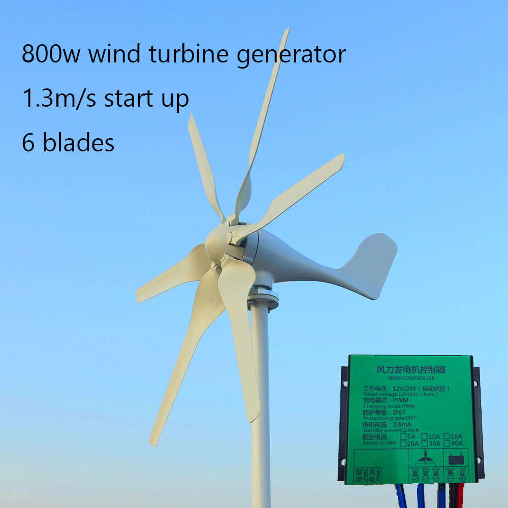 <font><b>800w</b></font> 12v 24v New Developed <font><b>Wind</b></font> Turbine <font><b>Generator</b></font> With 6 Blades Free Controller For Home Roof image