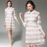 Soft Fox Beautiful Sexy Strip Lace Dress Elegant Knee Length Dress 2017 Summer New European And