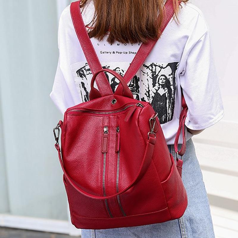 Zaino La Il Sacchetto Scuola Del Cuoio Casual rosso Disegno Stile Mochila Per Di Feminina Nero Kanken College Femminile Donne Daypacks 4qxdwAFg4