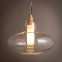 Пост-современный дизайн чистое стекло дерево E14 подвесной светильник для столовой гостиной бара ресторана 80-265V 1519