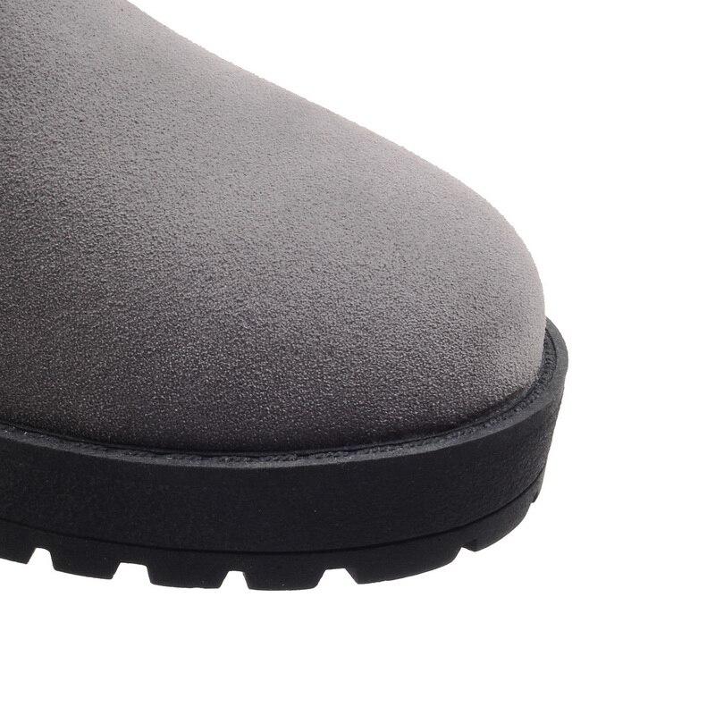 Lacent En vert Hiver forme Plate Des Caoutchouc Chaussures Noir Coins Automne Chaussons Chaud Bottes Femmes Daim Vert Cheville gris Fétiche 2018 Martin 81x4nY