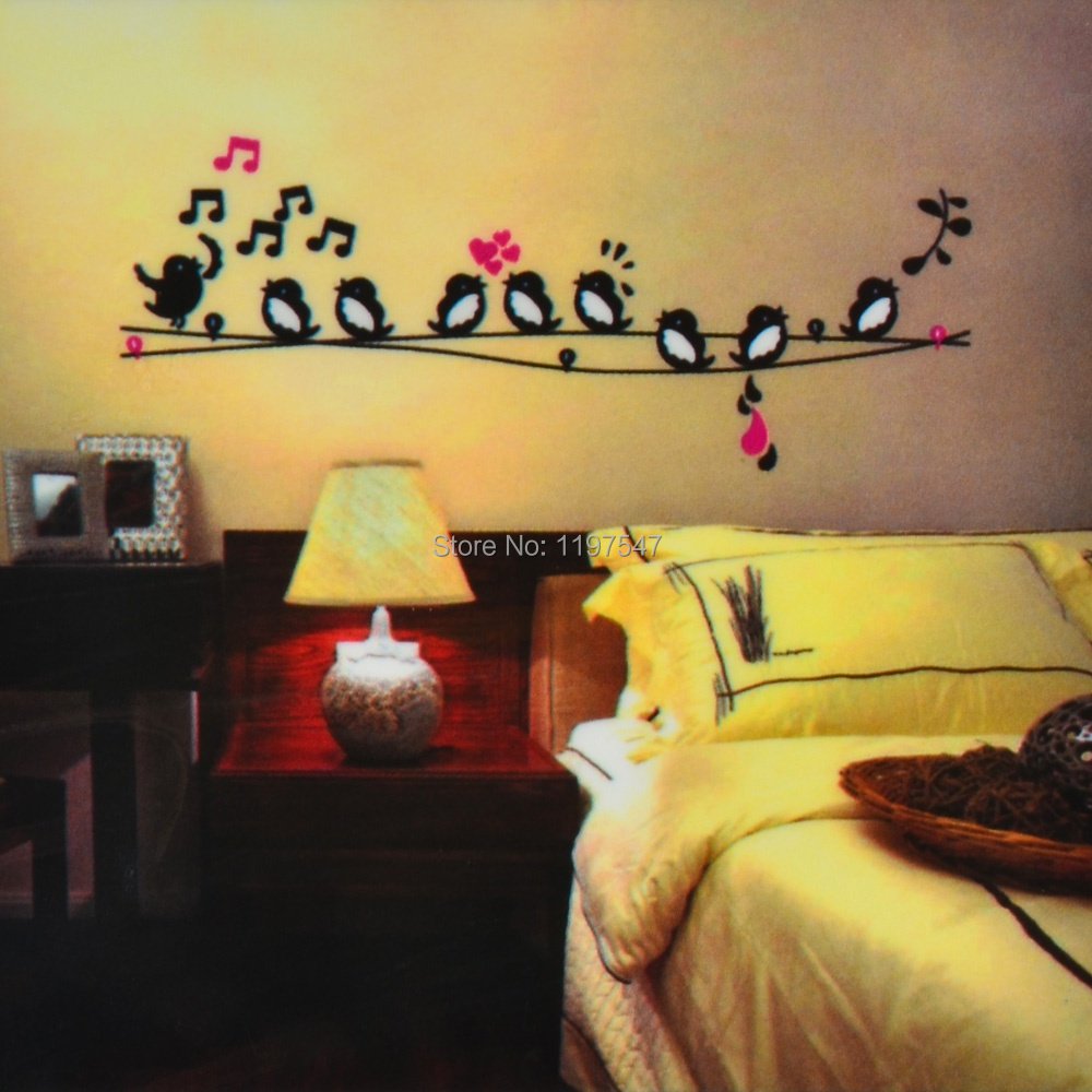 Birds On A Wire Removable Wall Sticker Kids Room Mural Art Decal ...