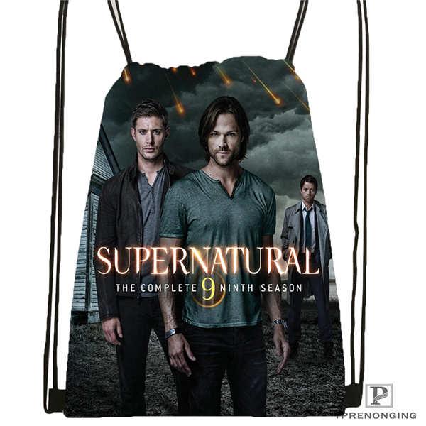 Custom Supernatural   Drawstring Backpack Bag Cute Daypack Kids Satchel (Black Back) 31x40cm#20180611-02-90