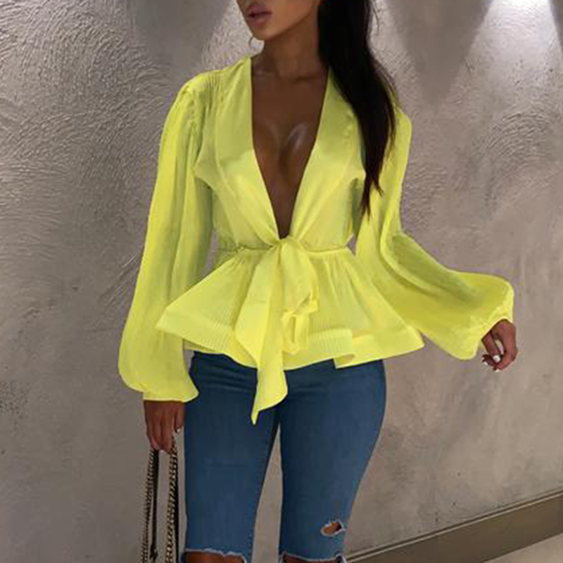 Bow sashes peplum tops women Sexy v neck long sleeve   blouse     shirt   Lantern sleeve party   blouse   Pink yellow blusas summer 2019