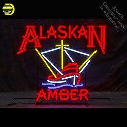 Alaskan bursztyn Neon zarejestruj sztuka ręcznie łodzi Neon żarówki Neon znak szklana rurka kultowych dekoracji Bar pokój kinkiet znaki Dropshipping