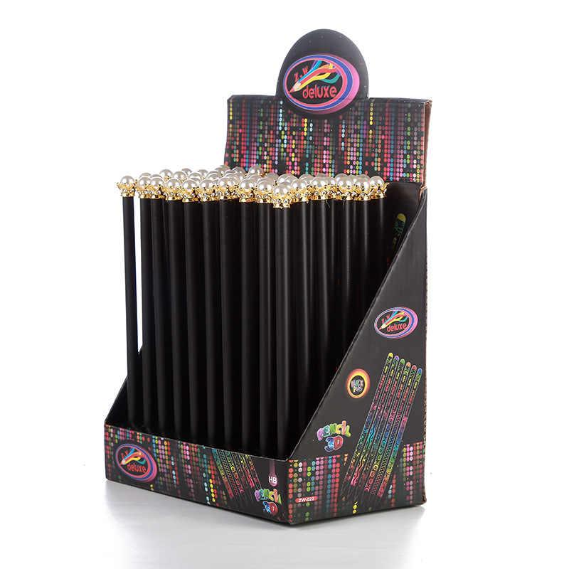 20 шт. kawaii черный деревянный карандаш Лот жемчуг карандаш с короной для школы офиса письма поставки корейский HB Стандартный Карандаш оптовая продажа