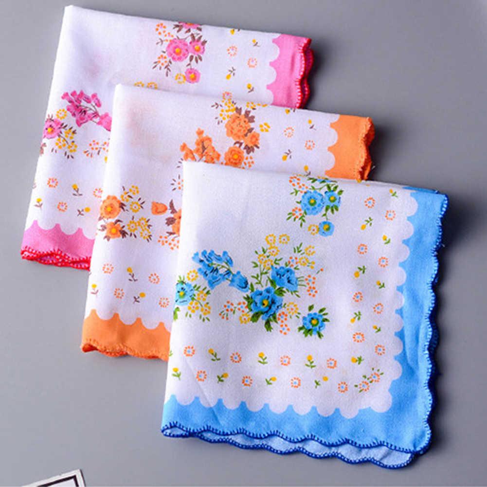 Оптовая продажа, 5 шт./партия, разноцветные носовые платки, Женский хлопковый Цветочный вышитый шарф, Карманный платок, случайный цвет