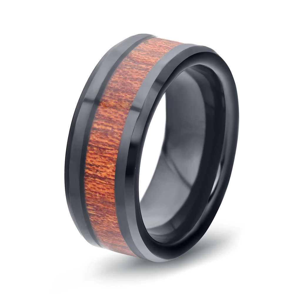 VIntage Wing-Handled Cup Jewelry Tungsten Ring Fashion Real Tungsten Ring With Simulated Wood Grain Rings For Men Party Rings