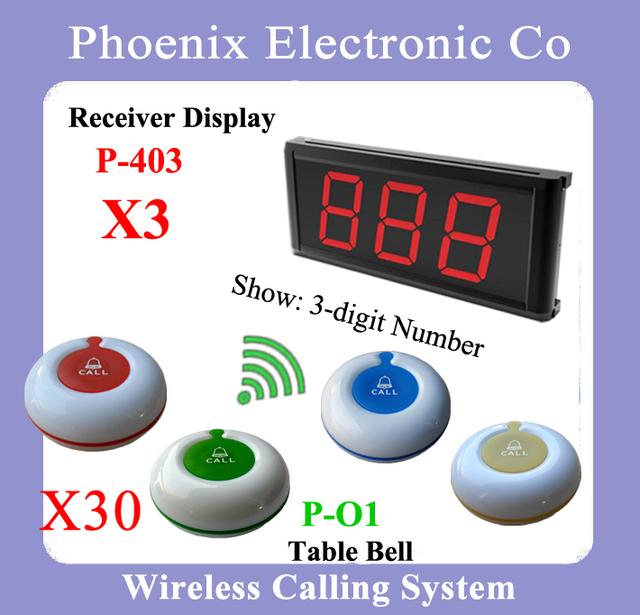 Sistema Localizador inalámbrico de Llamadas Para El Salón de Belleza Mesa, 1 Receptor de la Exhibición P-403 Y 20 Camarero Botón Envío Libre de Dhl