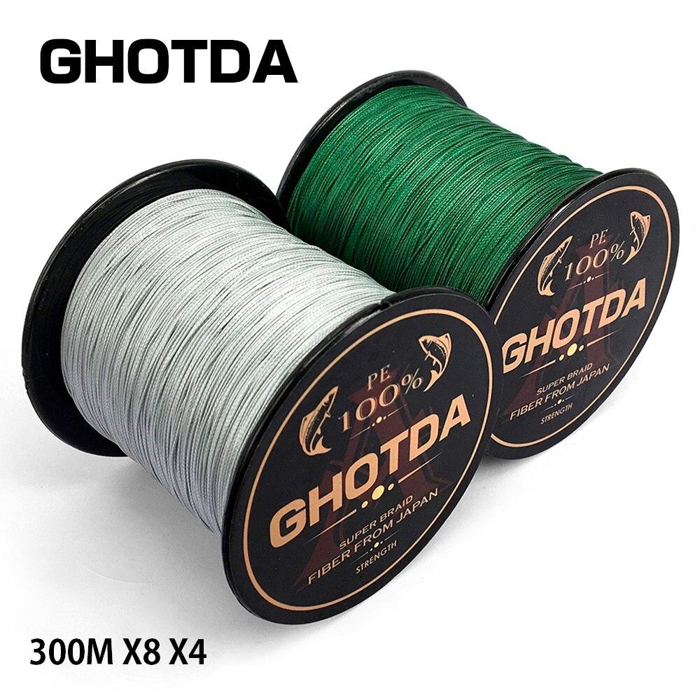 GHOTDA 300 m 8X 4X marca de pesca Super fuerte Japón multifilamento PE trenzada línea de pesca 8 hebras 4 hebras