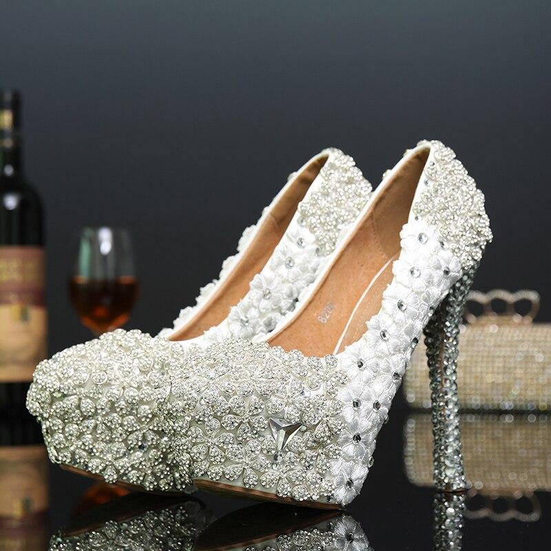 Super Mariée Chaussures Heel Mariage Slip Haut Sexy Laidy De 14cm Talon Cristal On Diamand Plate Rond Femmes Fleurs Partie forme Bout Pompes wBFxWqz05