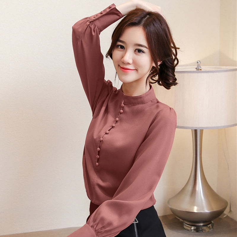 2019 New Spring Summer Women Tops Long Sleeve Casual Chiffon Blouse Female Stand Work Wear Solid Color Office Shirts Plus Size