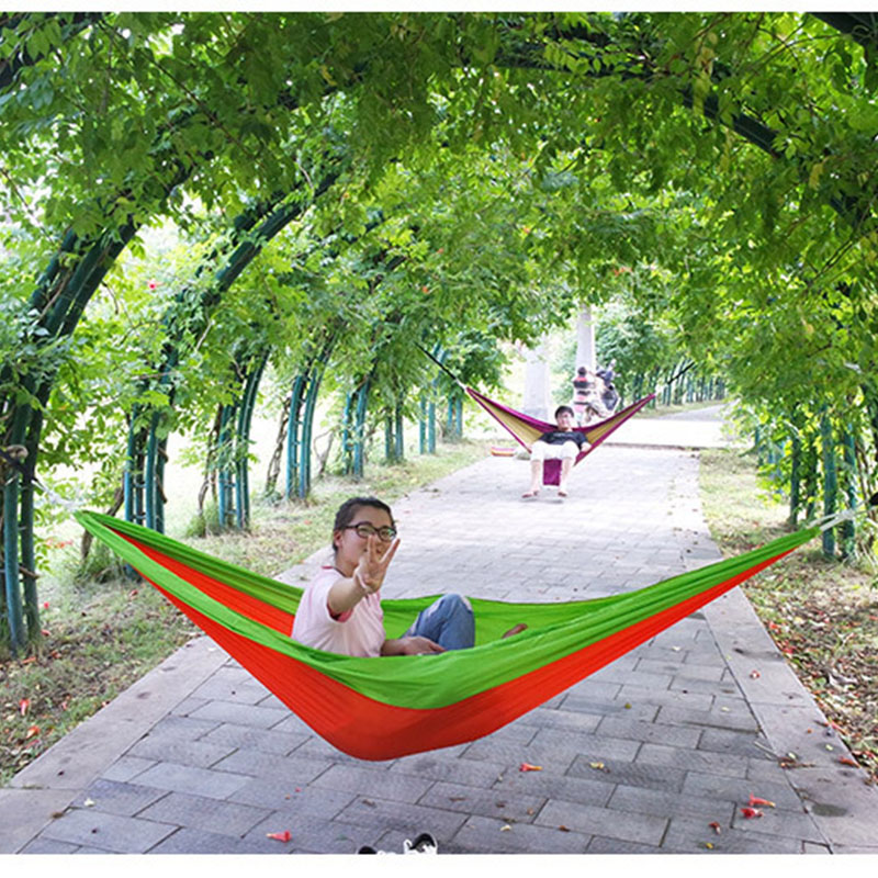 Outdoors Durable and Super Load Bearing Double Hammock for Traveling Bushwalking Activity Parachute Fabric Camping Hammock 300Kg thicken canvas single camping hammock outdoors durable breathable 280x80cm hammocks like parachute for traveling bushwalking