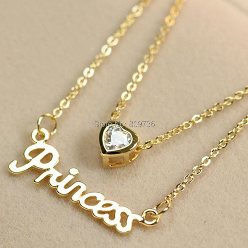 18K Gold Plated Princess Heart Letters Crystal Chain Necklace For ...