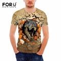 Forudesigns animal dinossauro 3d impressão t shirt homens roupas palácio tshirt verão respirável de manga curta top tees man suave tops