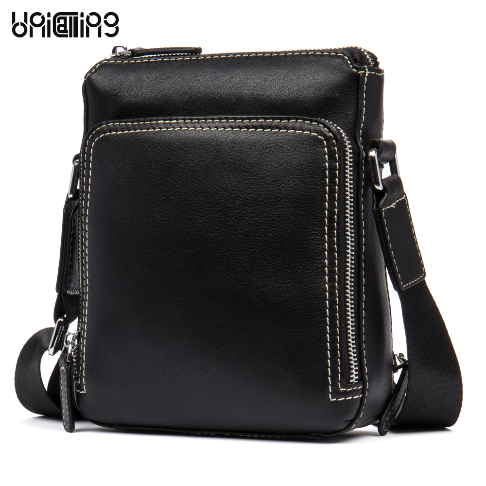 UniCalling brand leather men bags small fashion genuine leather crossbody shoulder bag new style men messenger bag real leather new style messenger bag men leather top grade all match hasp fashion retro cow leather men bag solid color small shoulder bags