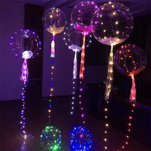 1PC 20inch Luminous Led Balloon Colorful Transparent Round Bubble Decoration Party Wedding Balloons Lighting in Dark 3M String