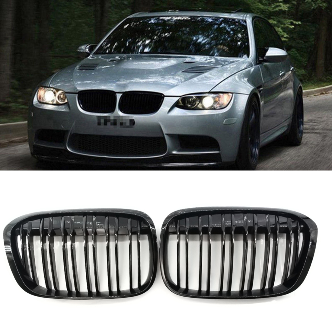 1 Pair /// M Color Matte Black Front Bumper Grille For BMW E83 X3 LCI 07-10 Facelift GZ.A E83 XK L / LM/YM #D2#D2 1 pair new black flame l