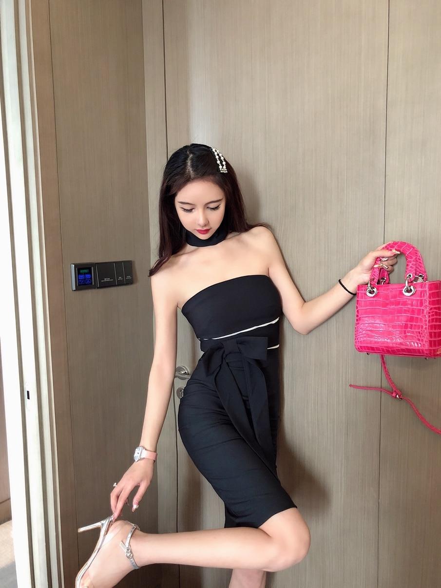 Nuevo 2019 Red ancla una palabra hombro poner-en el vestido del collar con el cordón abierto de la cadera y Sexy sin color vestido - 4