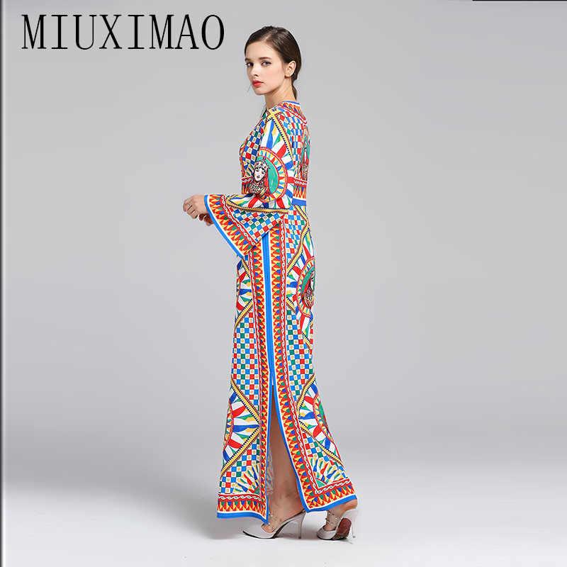 Haute qualité 2019 piste concepteur o-cou complet et Flare manches Figure imprimer élégant décontracté robe de plage longue robe femmes vestido