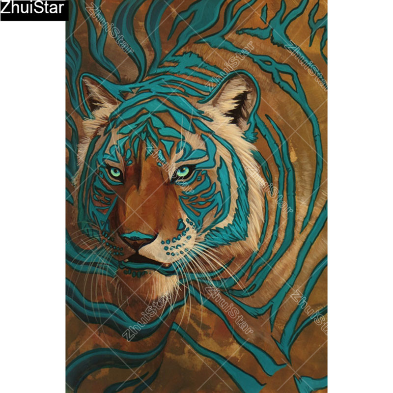 """Full Square 5D DIY Diamond Painting """"tiger """" Embroidery"""