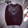Tnew время и мода марка вышивка тигр дизайн sweatershirt тонкий досуг стиль мужской