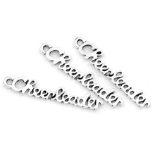30Pcs Silver Tone Hollow Letters Carved Cheerleader Pendants Jewelry Diy Findings Charms 27x5mm
