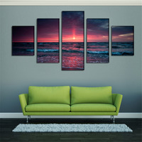 . New 5pcs Unframed Modern Canvas Landscape Wall Art Picture Print Painting Dawn Seascape Spray Painting Home Decoration