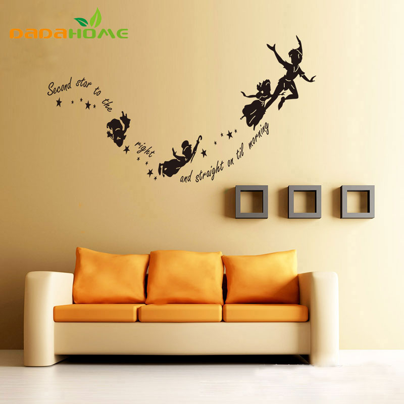 Cartoons Anime Second Star To Kids Wall Stickers Home Decor Wall Art