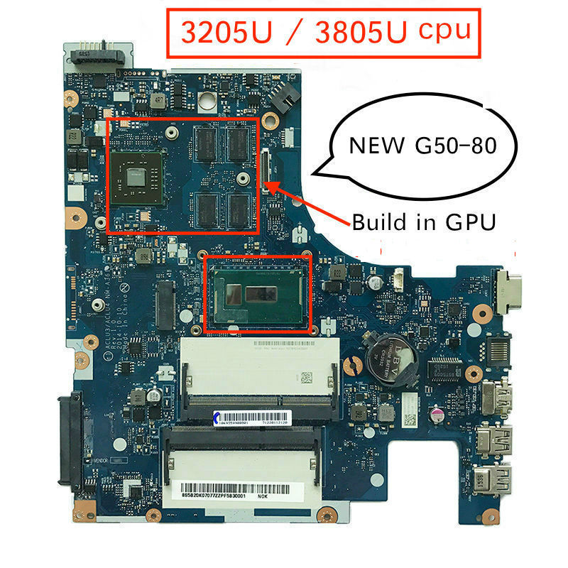 Original ACLUC3/ACLU4 <font><b>NM</b></font>-<font><b>A361</b></font> Rev:1.0 G50-80 Laptop Motherboard For Lenovo G50-80 G50 80 PC image
