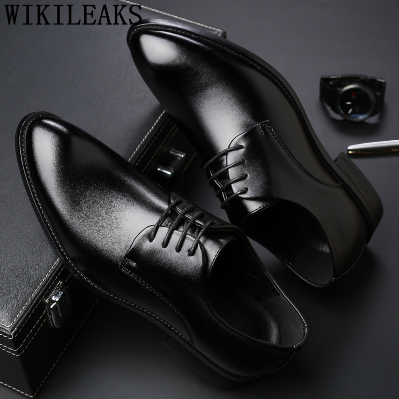 Men Suit Shoes Italian Leather Social Office Party Black Men's Masculino Sapato Hombre