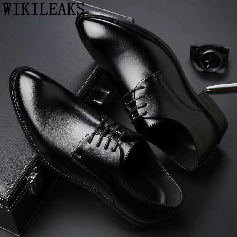 Мужские деловые туфли, черные, из искусственной кожи