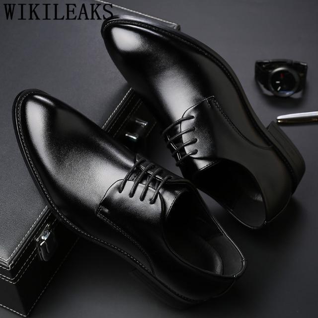 69afa4f2c Homens de terno preto sapatos de festa dos homens vestido sapatos de couro  italiano zapatos hombre
