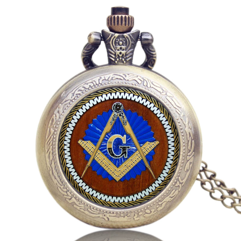 Glass Dome Deisgn Masonic Freemason Freemasonry Theme Pocket Watch With Chain Necklace Pendant Quartz Pocket Watches For Gift