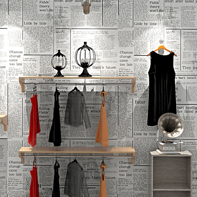 Retro Fashion Old Newspaper Wallpaper Clothing Store Cafe