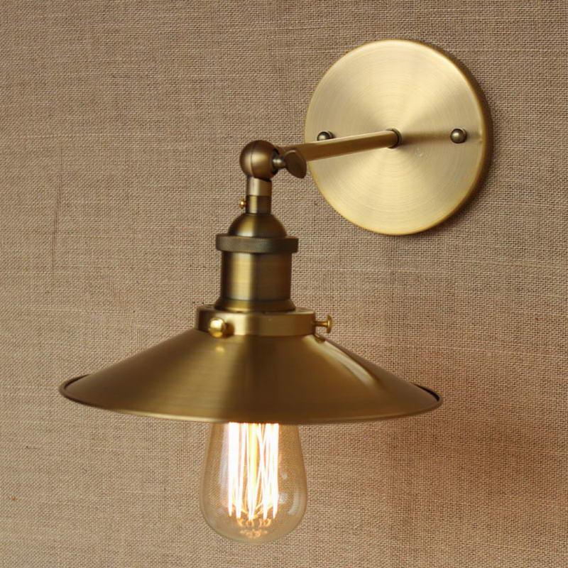 Industrial Antique Gold Metal Adjust Wall Lamp For Workroom Bathroom Vanity  Lights