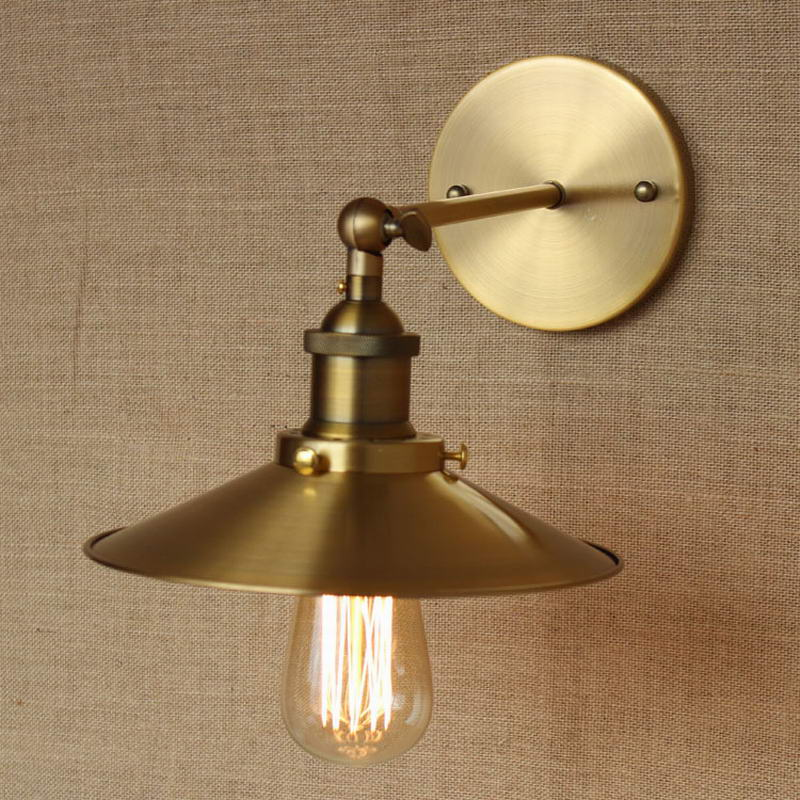 Industrial Antique umbrella shaped gold metal adjust wall lamp for ...