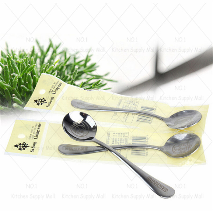1PC Stainless Steel cartoon spoon kids children dinnerware ice cream coffee mixing healthy spoon cooking tools free shipping