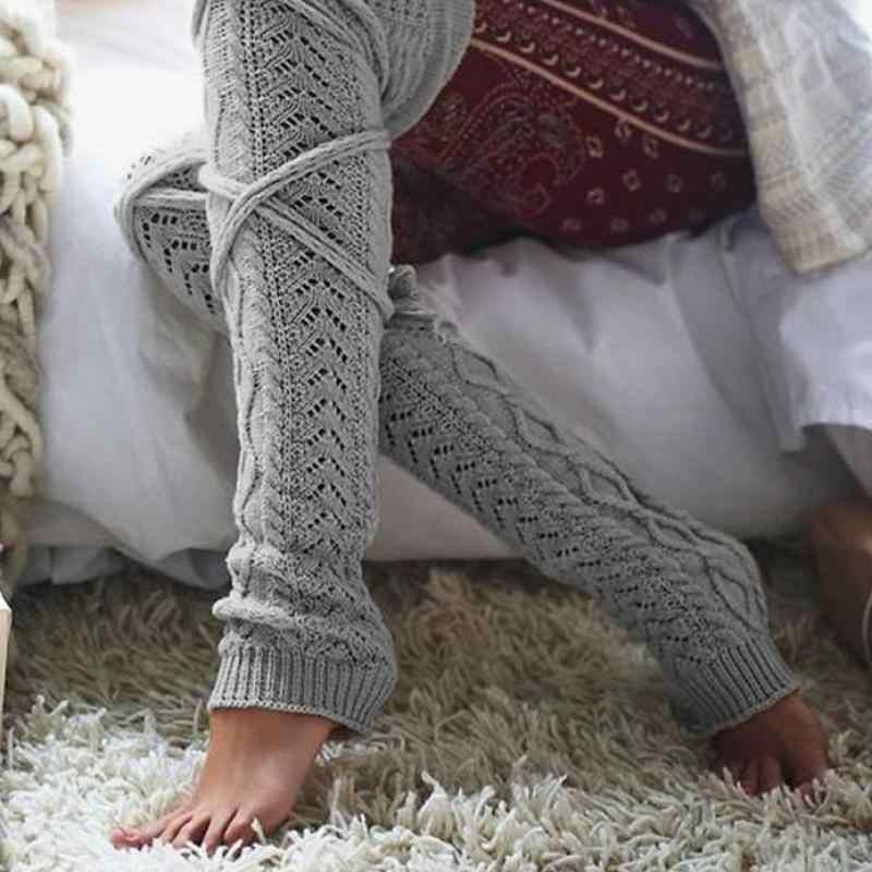 Leg Warmers Women Winter Soft Knit Crochet Legwarmers High Knee Socks Stocking