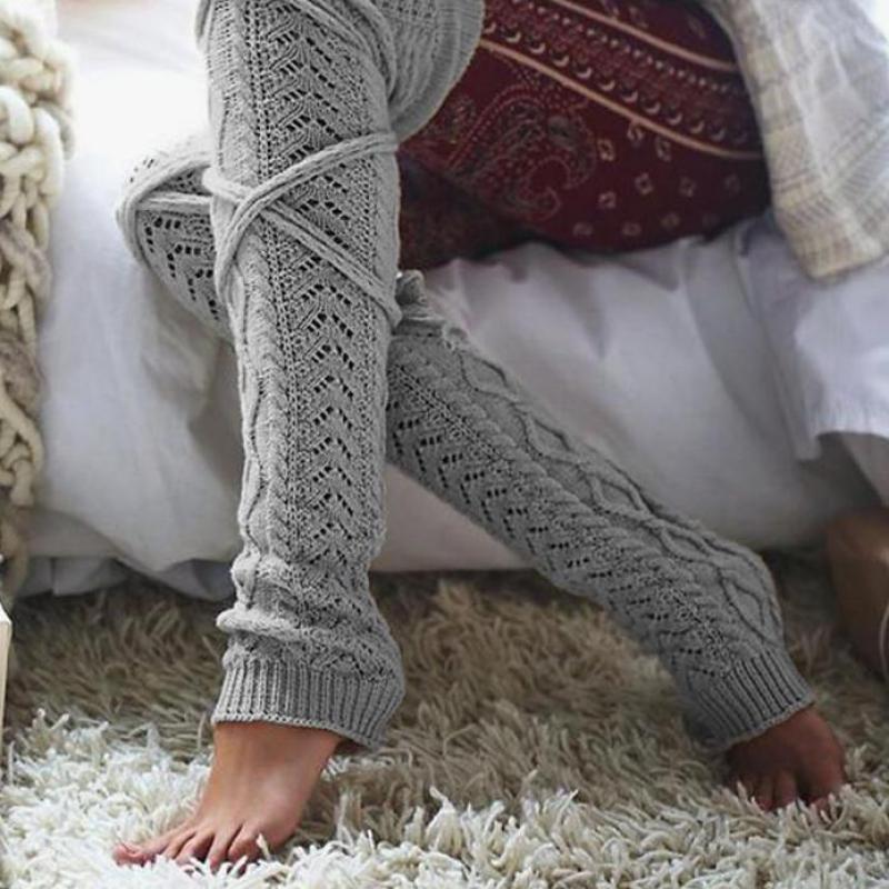 Fulok Girls High Waist Wool-Blend Knit Thick Warm Winter Legging Gray 5T