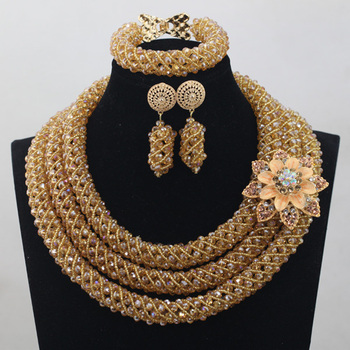 Luxury New Design Champagne Crystal Nigerian African Wedding Groom Beads Necklace Jewelry Set For Women Free ShippingABH080