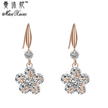 Trendy Jewelry For  Rose Gold With White Cubic Zirconia Charming Flower Necklace Earrings Set For Wedding Jewelry