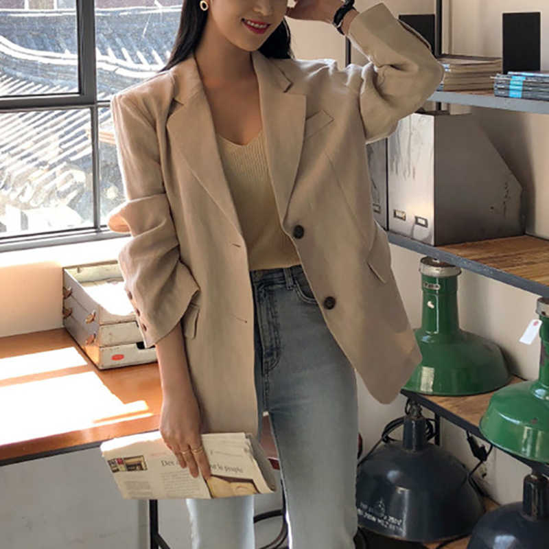 Korea Style Coat Spring and Autumn cotton Linen Suits jacket 2019 New Elegant Casual Women Coat